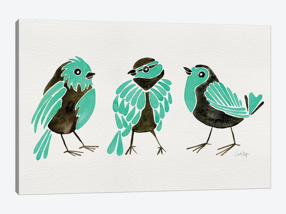 Turquoise Finches by Cat Coquillette 1-piece Canvas Wall Art