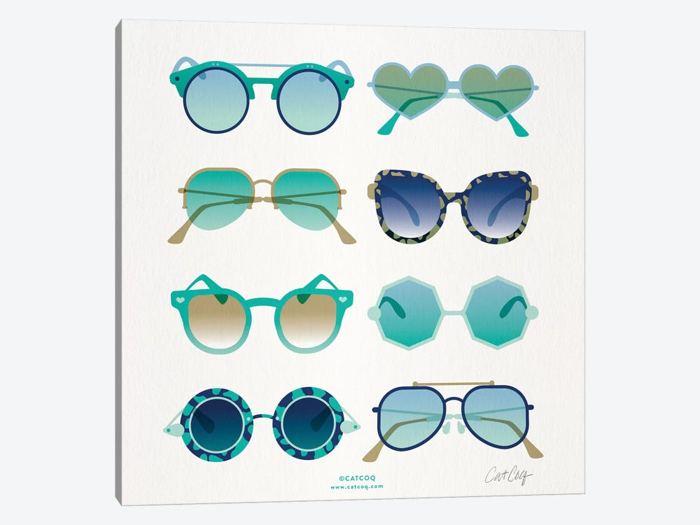 Turquoise Sunglasses by Cat Coquillette 1-piece Canvas Art Print