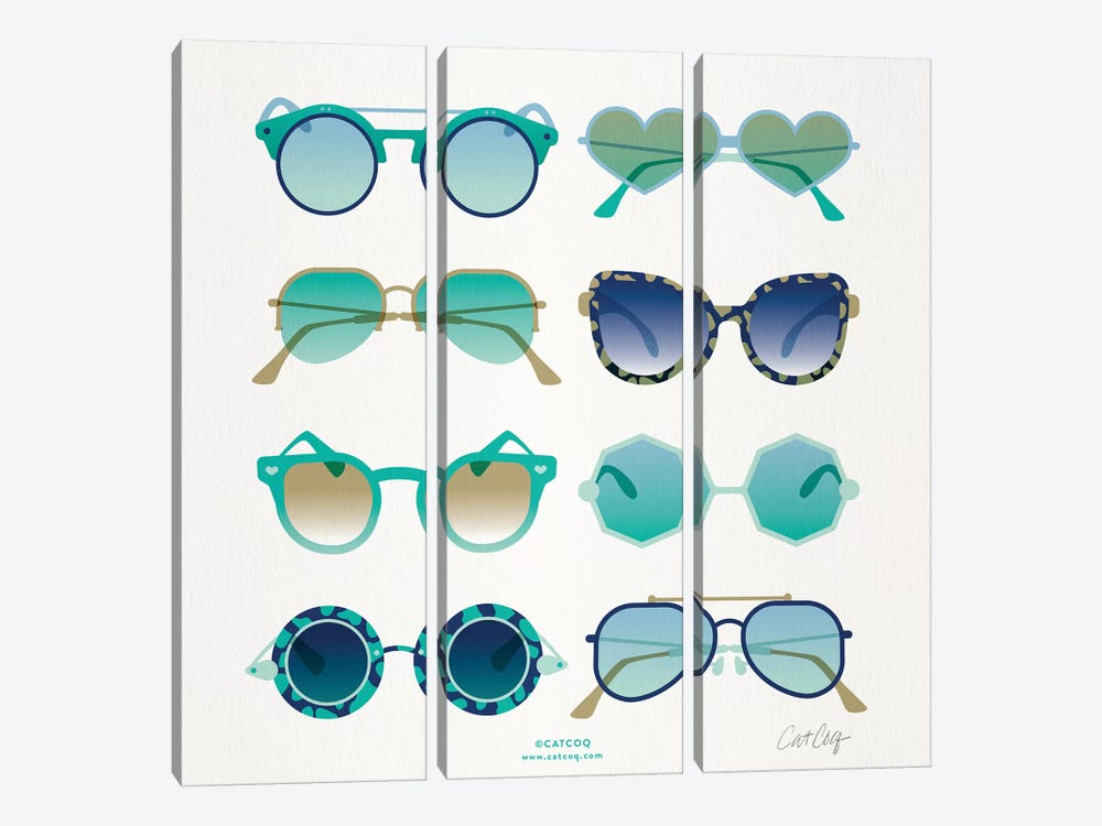 Turquoise Sunglasses by Cat Coquillette 3-piece Art Print