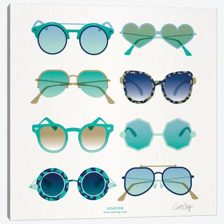 Turquoise Sunglasses Canvas Print #CCE442} by Cat Coquillette Art Print