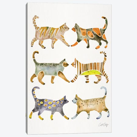 Yellow Cat Collection Canvas Print #CCE448} by Cat Coquillette Canvas Art Print