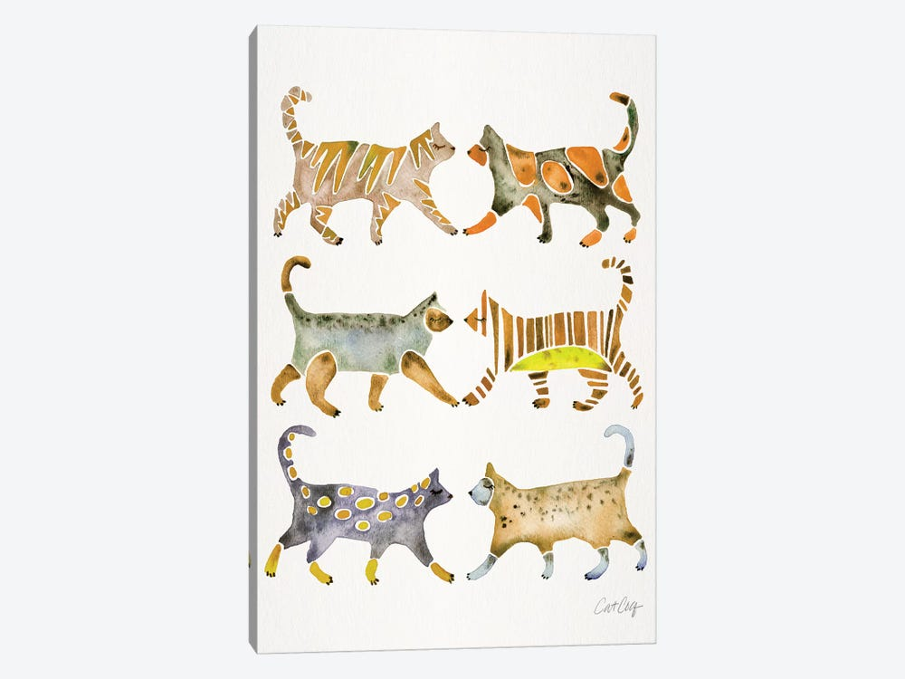 Yellow Cat Collection by Cat Coquillette 1-piece Art Print