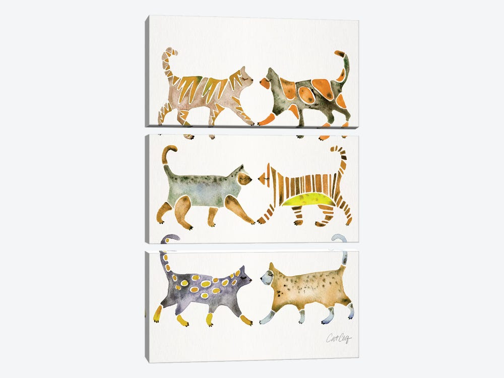 Yellow Cat Collection by Cat Coquillette 3-piece Canvas Art Print