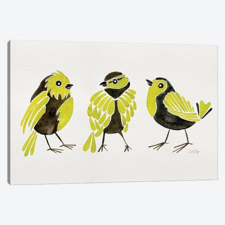 Yellow Finches 3-Piece Canvas #CCE449} by Cat Coquillette Art Print