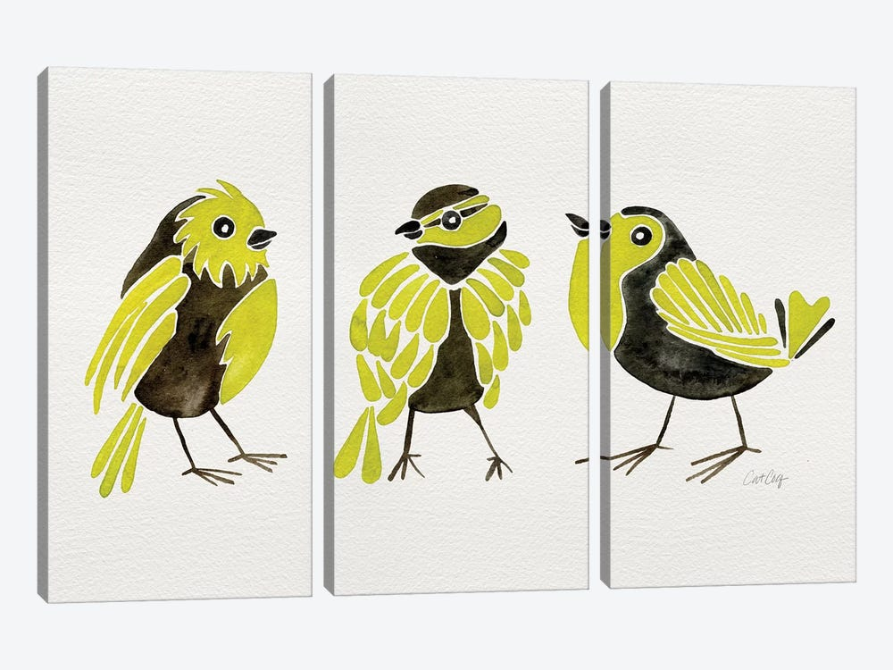 Yellow Finches by Cat Coquillette 3-piece Canvas Artwork