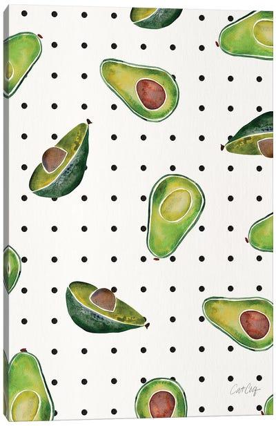 Avocado Polka Dots Canvas Art Print