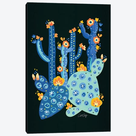 Blue Charcoal - Cactus Garden Acrylic Canvas Print #CCE452} by Cat Coquillette Canvas Wall Art