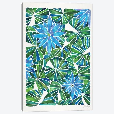 Blue Green - Water Lilies Canvas Print #CCE453} by Cat Coquillette Canvas Wall Art