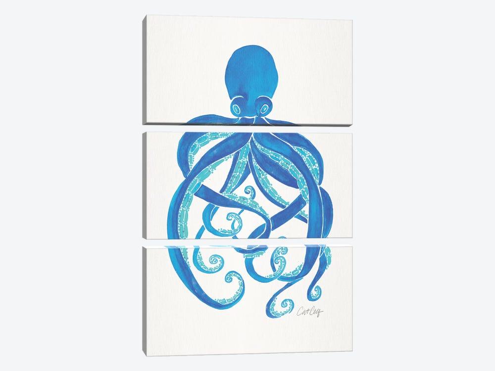 Blue - Octopus by Cat Coquillette 3-piece Canvas Artwork
