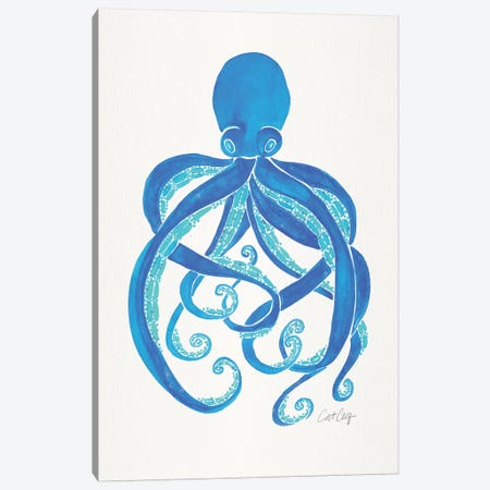 Blue - Octopus Canvas Print #CCE454} by Cat Coquillette Art Print