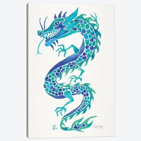 Blues - Chinese Dragon Canvas Print #CCE455} by Cat Coquillette Canvas Art Print