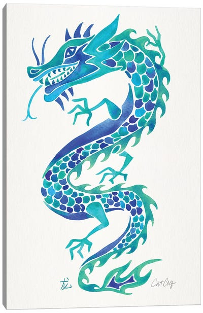 Blues - Chinese Dragon Canvas Art Print