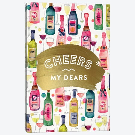 Cheers My Dears 3-Piece Canvas #CCE458} by Cat Coquillette Canvas Art
