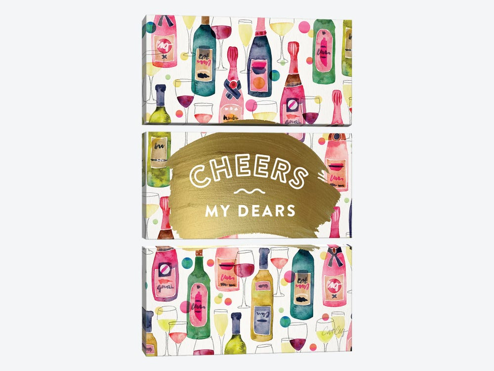Cheers My Dears by Cat Coquillette 3-piece Canvas Art
