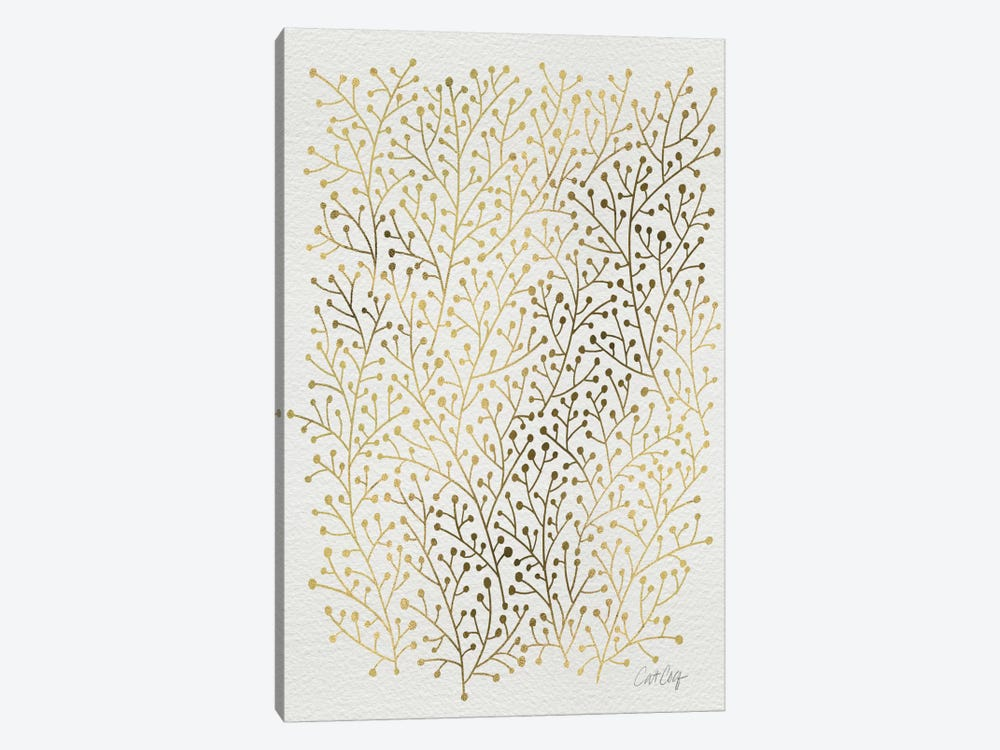 Berry Branches Gold Artprint by Cat Coquillette 1-piece Canvas Art