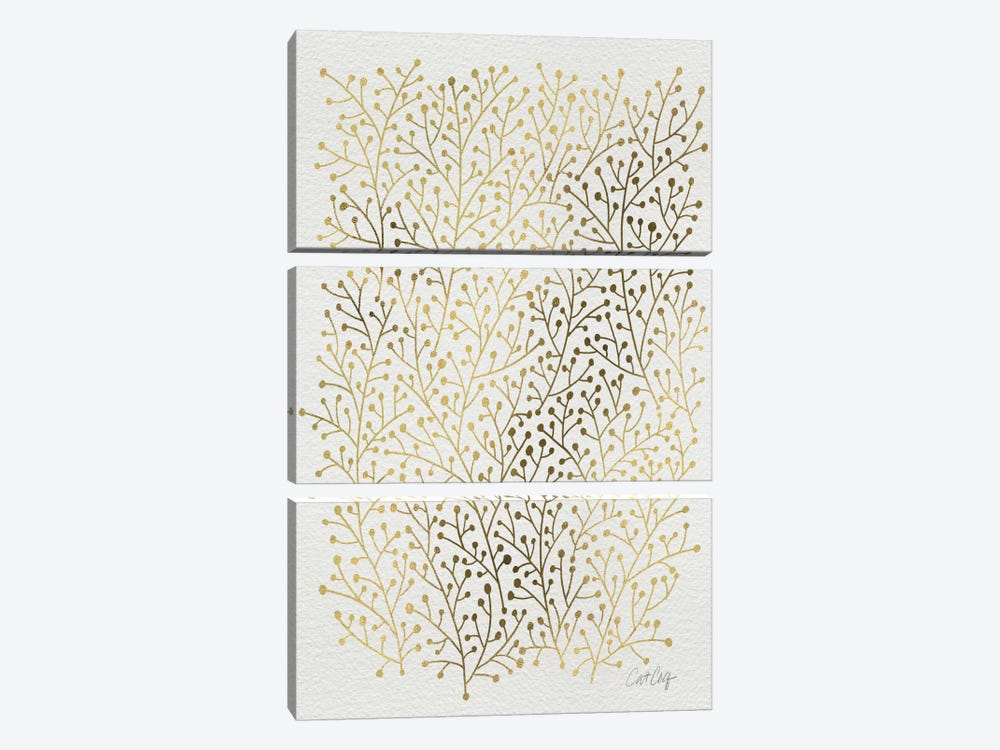 Berry Branches Gold Artprint by Cat Coquillette 3-piece Canvas Wall Art