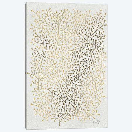 Berry Branches Gold Canvas Print #CCE45} by Cat Coquillette Canvas Art Print