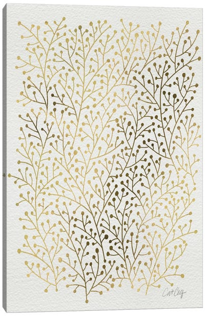 Berry Branches Gold Canvas Art Print