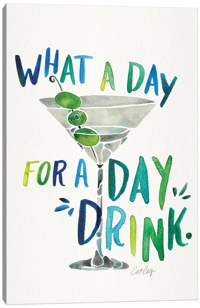 Green Blue - Day Drink by Cat Coquillette Canvas Art Print