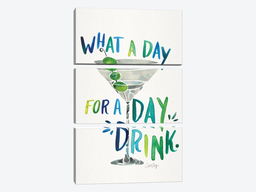 Green Blue - Day Drink by Cat Coquillette 3-piece Canvas Wall Art