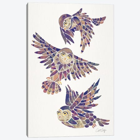 Mauve - Owls 3-Piece Canvas #CCE466} by Cat Coquillette Canvas Art