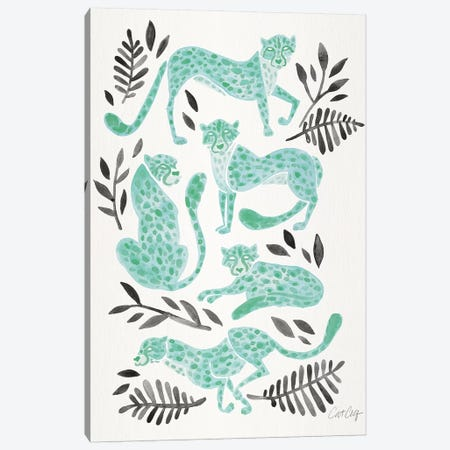 Mint Black - Cheetahs Canvas Print #CCE468} by Cat Coquillette Art Print