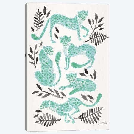Mint Black - Cheetahs Canvas Print #CCE468} by Cat Coquillette Art Print