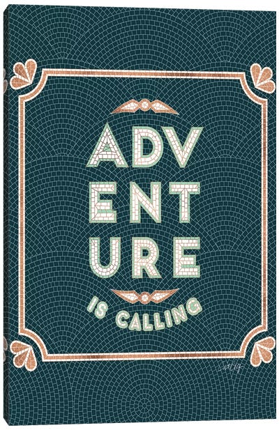 Mint Teal - Adventure Is Calling Mosaic Canvas Art Print