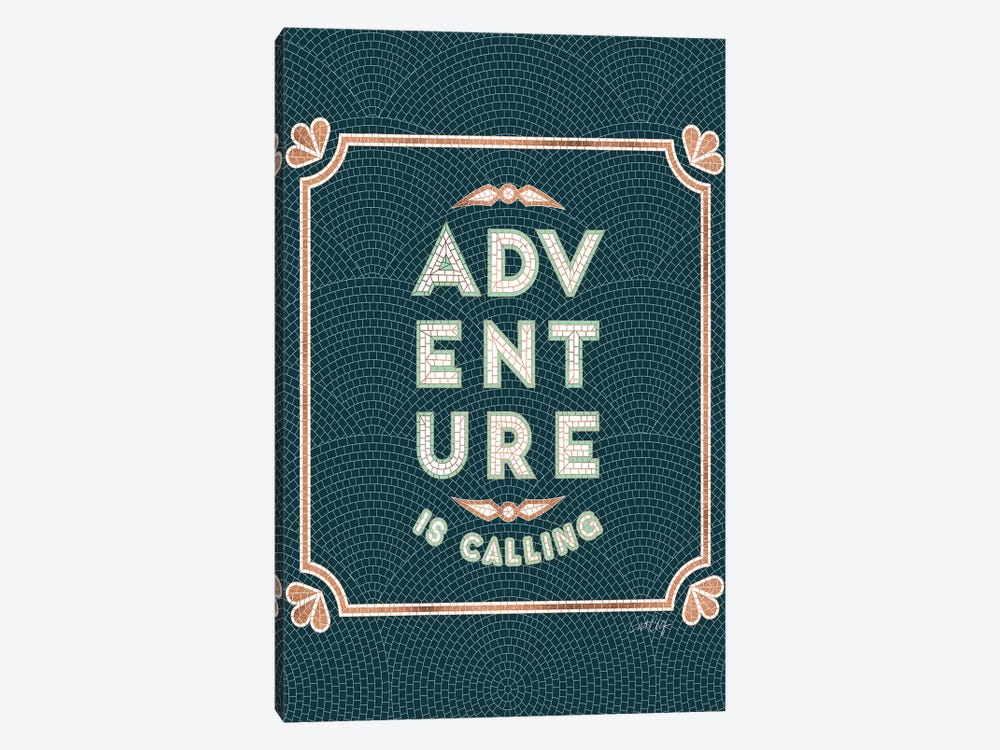 Mint Teal - Adventure Is Calling Mosaic by Cat Coquillette 1-piece Canvas Artwork