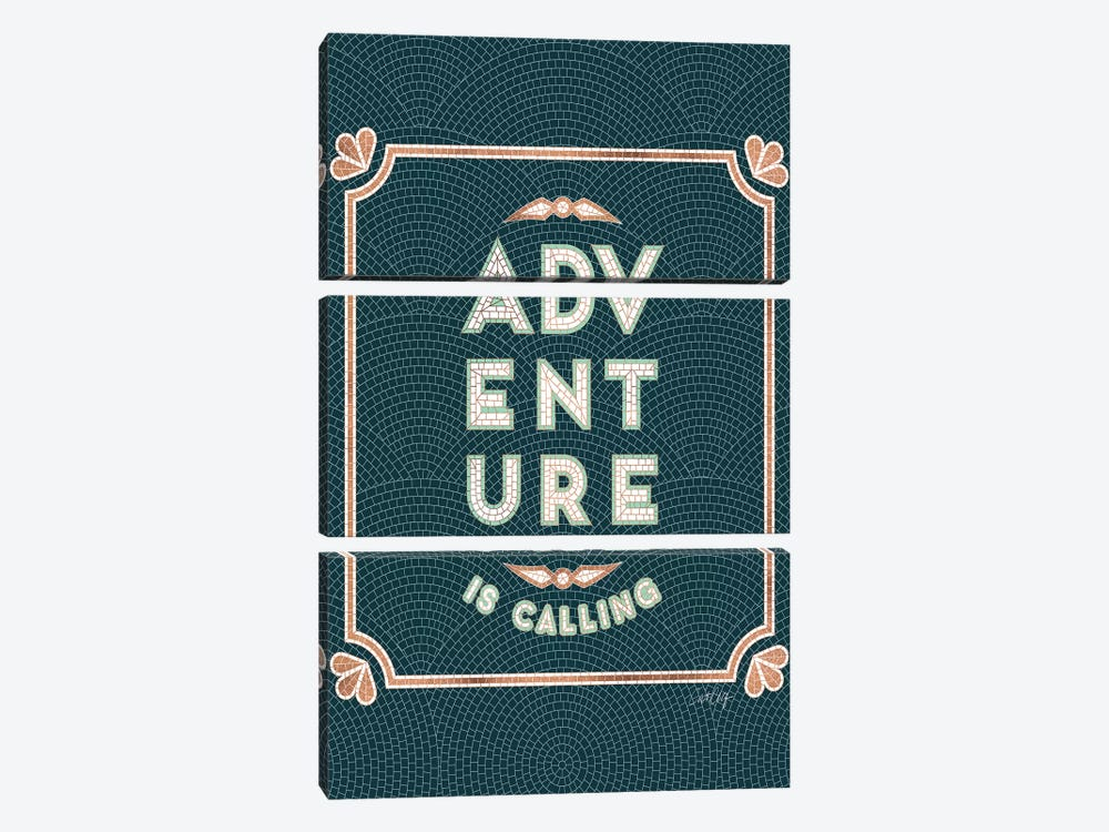 Mint Teal - Adventure Is Calling Mosaic by Cat Coquillette 3-piece Canvas Wall Art