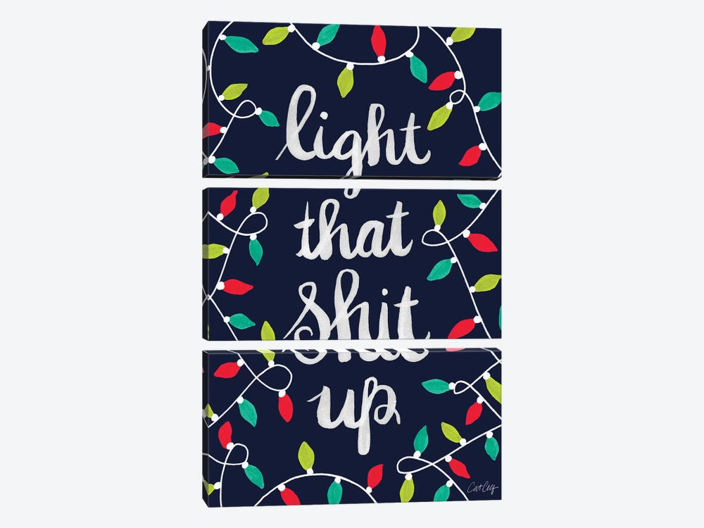 Multi On Navy - Light That Shit Up by Cat Coquillette 3-piece Canvas Print