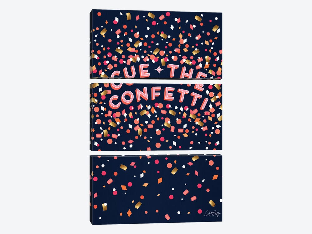 Navy - Cue The Confetti by Cat Coquillette 3-piece Art Print