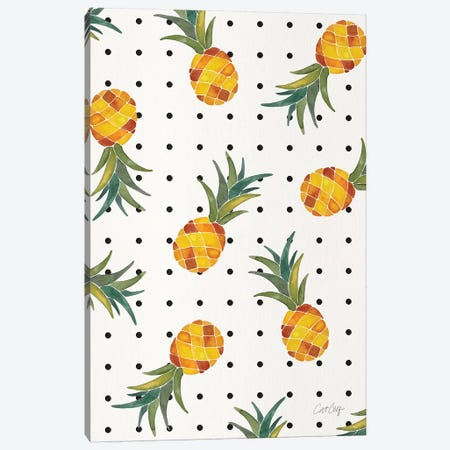 Pineapple Polka Dots Canvas Print #CCE475} by Cat Coquillette Art Print