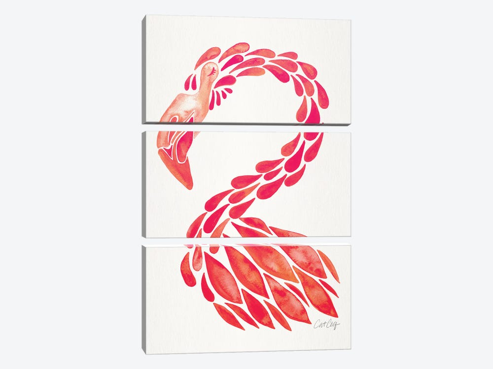 Pink - Miami Flamingo by Cat Coquillette 3-piece Canvas Print