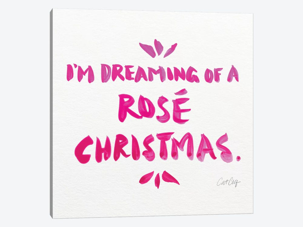 Pink - Rose Christmas by Cat Coquillette 1-piece Canvas Art Print