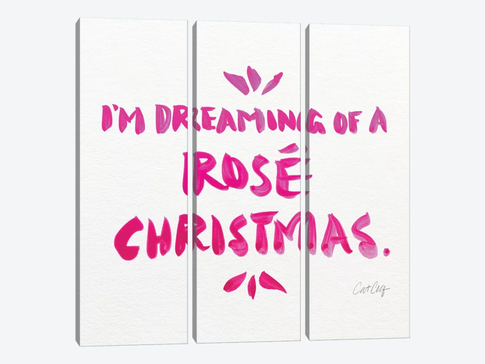 Pink - Rose Christmas by Cat Coquillette 3-piece Art Print