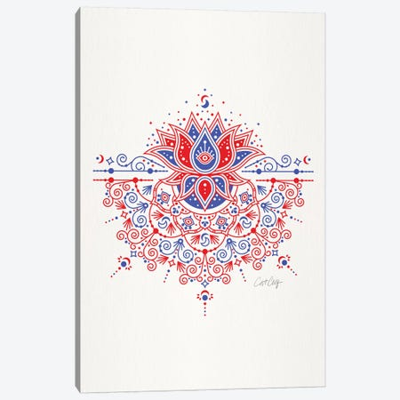Red Blue - Lotus Blossom Mandala Canvas Print #CCE481} by Cat Coquillette Canvas Print