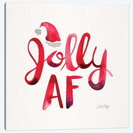 Red - Jolly AF Canvas Print #CCE482} by Cat Coquillette Canvas Art Print