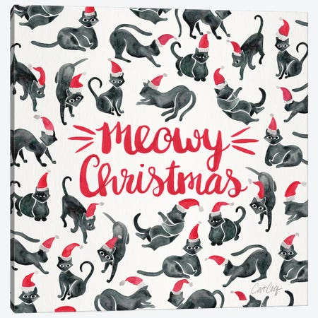 Red Type - Meowy Christmas Canvas Print #CCE483} by Cat Coquillette Canvas Art Print