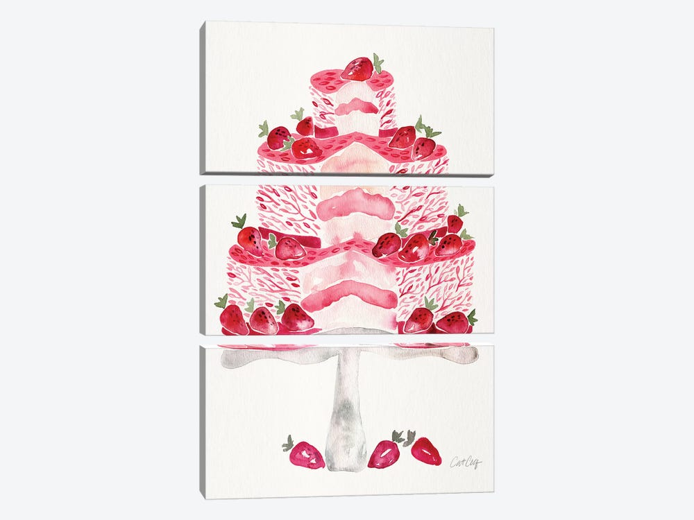 Strawberry Short Cake 3-piece Canvas Print