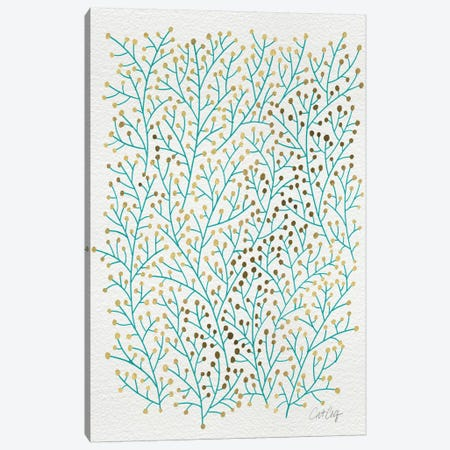 Berry Branches Gold Turquoise Artprint Canvas Print #CCE48} by Cat Coquillette Canvas Artwork