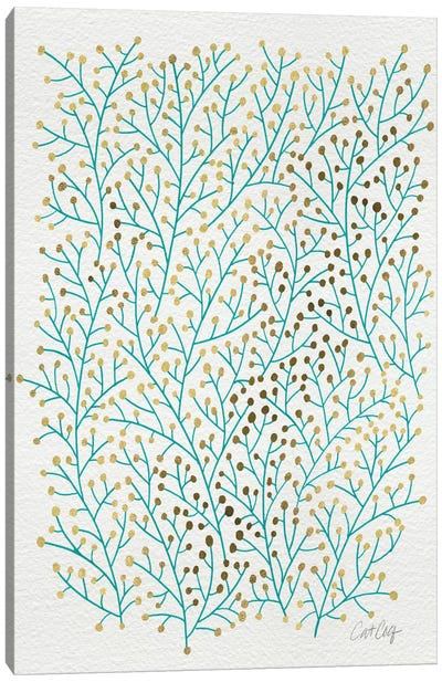 Berry Branches Gold Turquoise Artprint Canvas Art Print