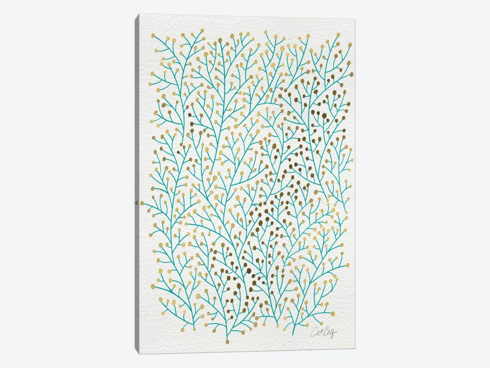 Berry Branches Gold Turquoise by Cat Coquillette 1-piece Canvas Print