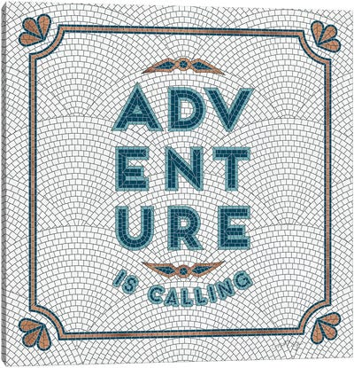 Teal White - Adventure Is Calling Mosaic Canvas Art Print