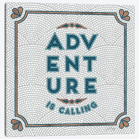 Teal White - Adventure Is Calling Mosaic Canvas Print #CCE490} by Cat Coquillette Canvas Art