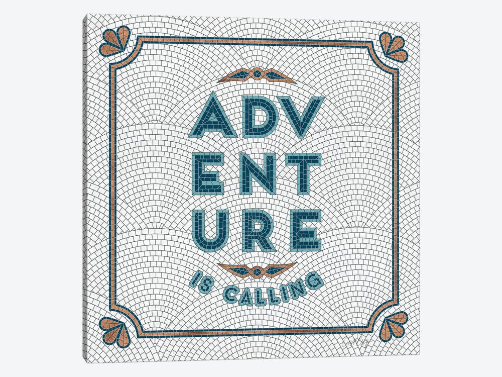 Teal White - Adventure Is Calling Mosaic by Cat Coquillette 1-piece Canvas Artwork