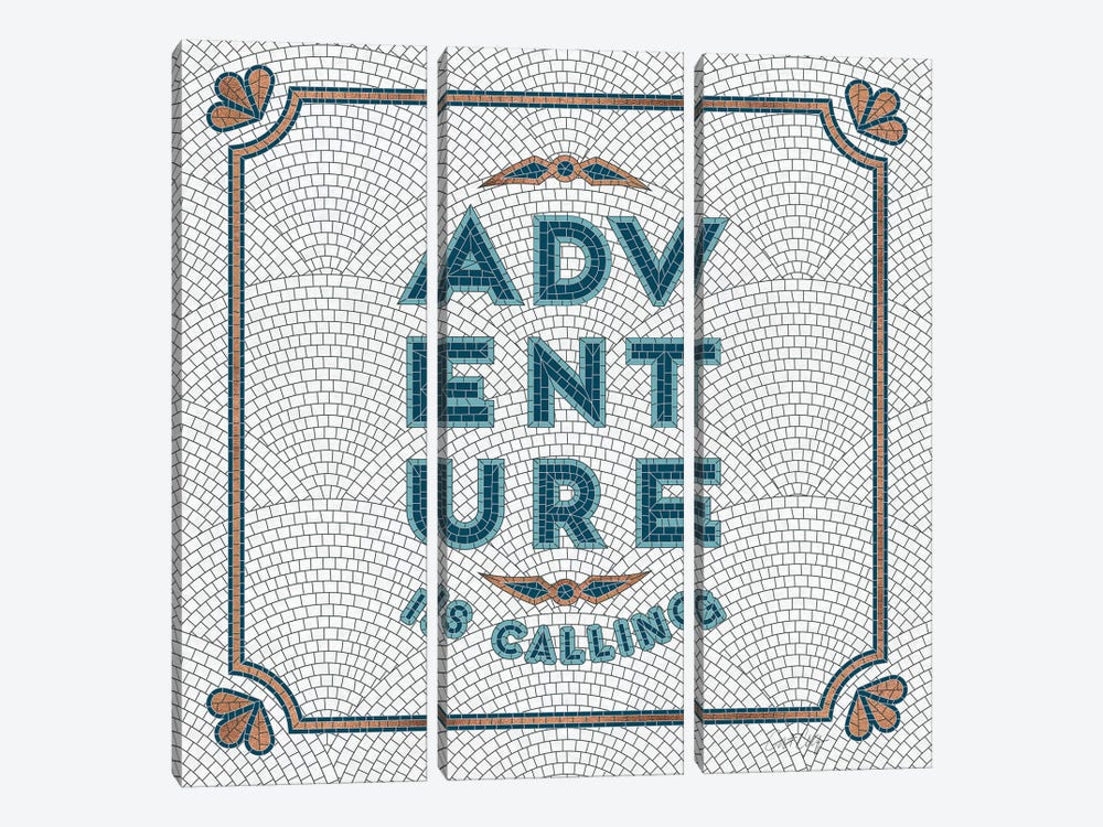 Teal White - Adventure Is Calling Mosaic by Cat Coquillette 3-piece Canvas Art