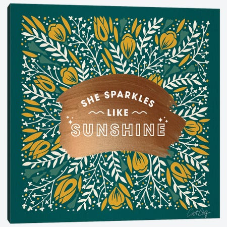 Teal Yellow - She Sparkles Like Sunshine Canvas Print #CCE491} by Cat Coquillette Canvas Artwork