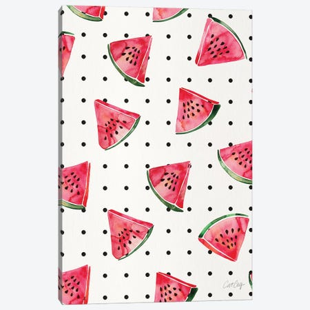 Watermelon Polka Dots Canvas Print #CCE492} by Cat Coquillette Canvas Art