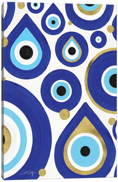 White - Evil Eye Charms by Cat Coquillette Canvas Art Print